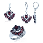 Natural Garnet 925 Sterling Silver Filigree Ring, Earrings & Pend...